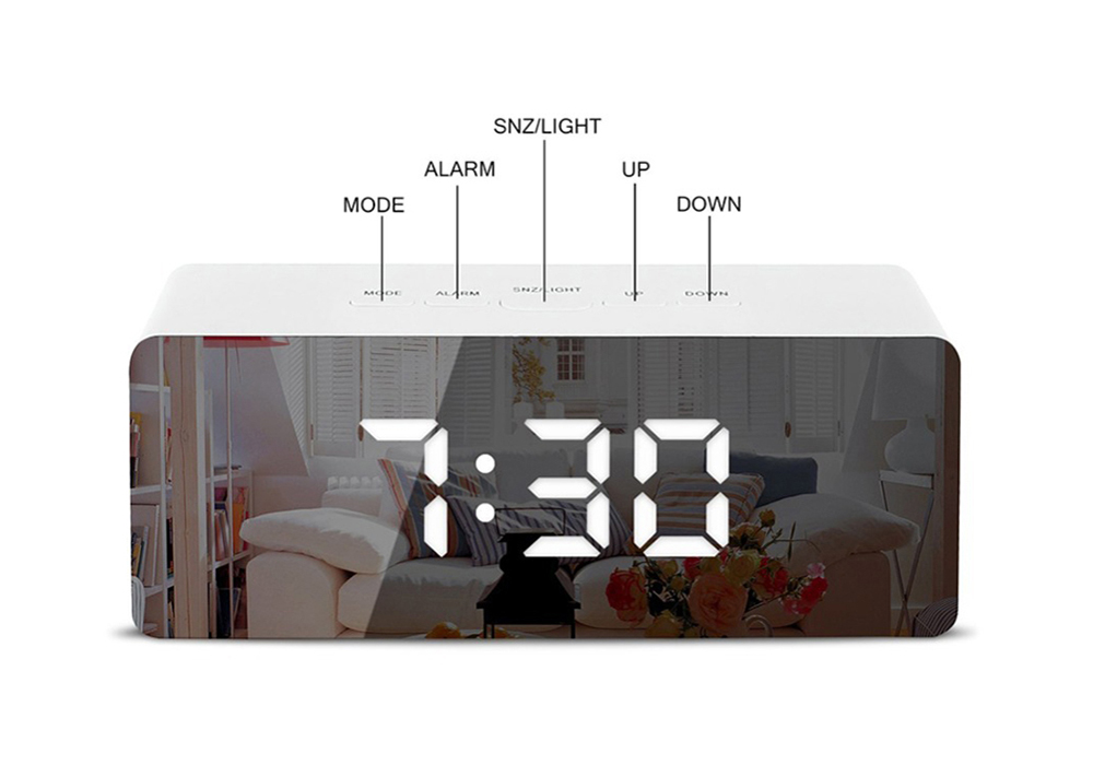 Rectangular Digital Alarm Clock LED Screen Desk Hanging Watch Night Light Makeup Mirror- Black 1pc