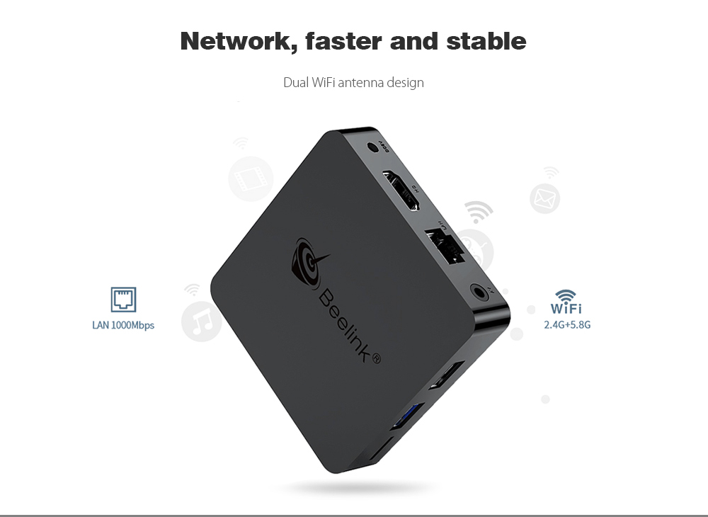Beelink GT1 MINI TV Box with Voice Remote Amlogic S905X2 / Android 8.1 / 2.4G + 5.8G WiFi / 1000Mbps / USB3.0 / BT4.0 / Support 4K H.265- Black 4GB DDR4+64GB ROM EU PLUG