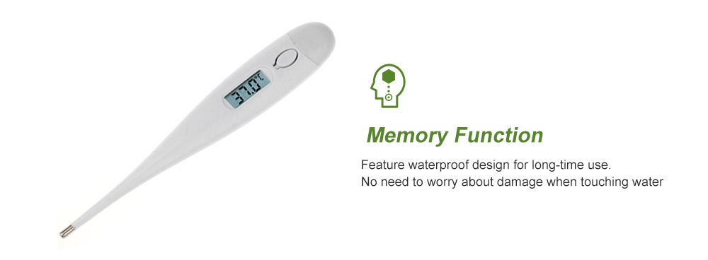 Waterproof Digital Baby Child Adult Body LCD Temperature Measurement Thermometer - White