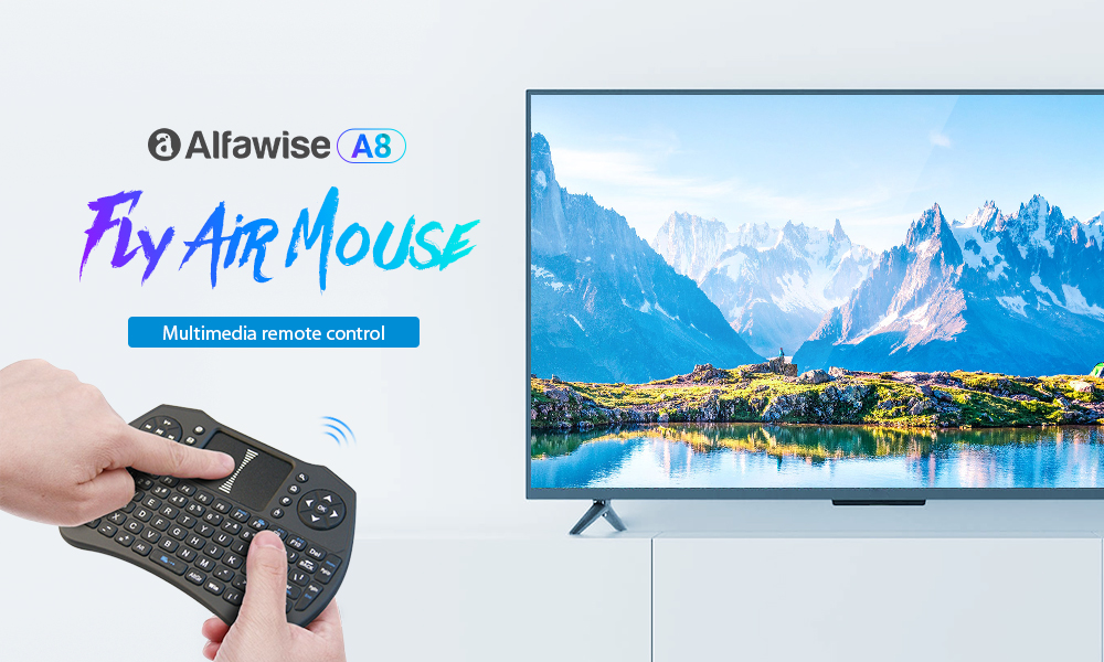 Alfawise A8 Wireless Keyboard Fly Air Mouse for Android Smart TV Box PC- Night Style II