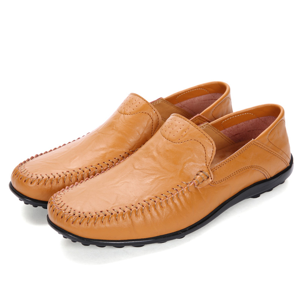 Men'S Genuine Leather Loafers Casual Flats Shoes- Tiger Orange EU 38