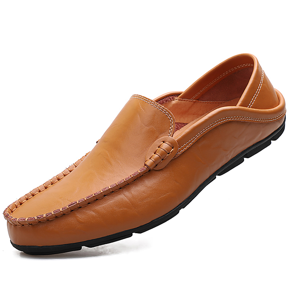 Men Casual Loafers Genuine Leather Moccasins Shoes- Golden brown EU 40