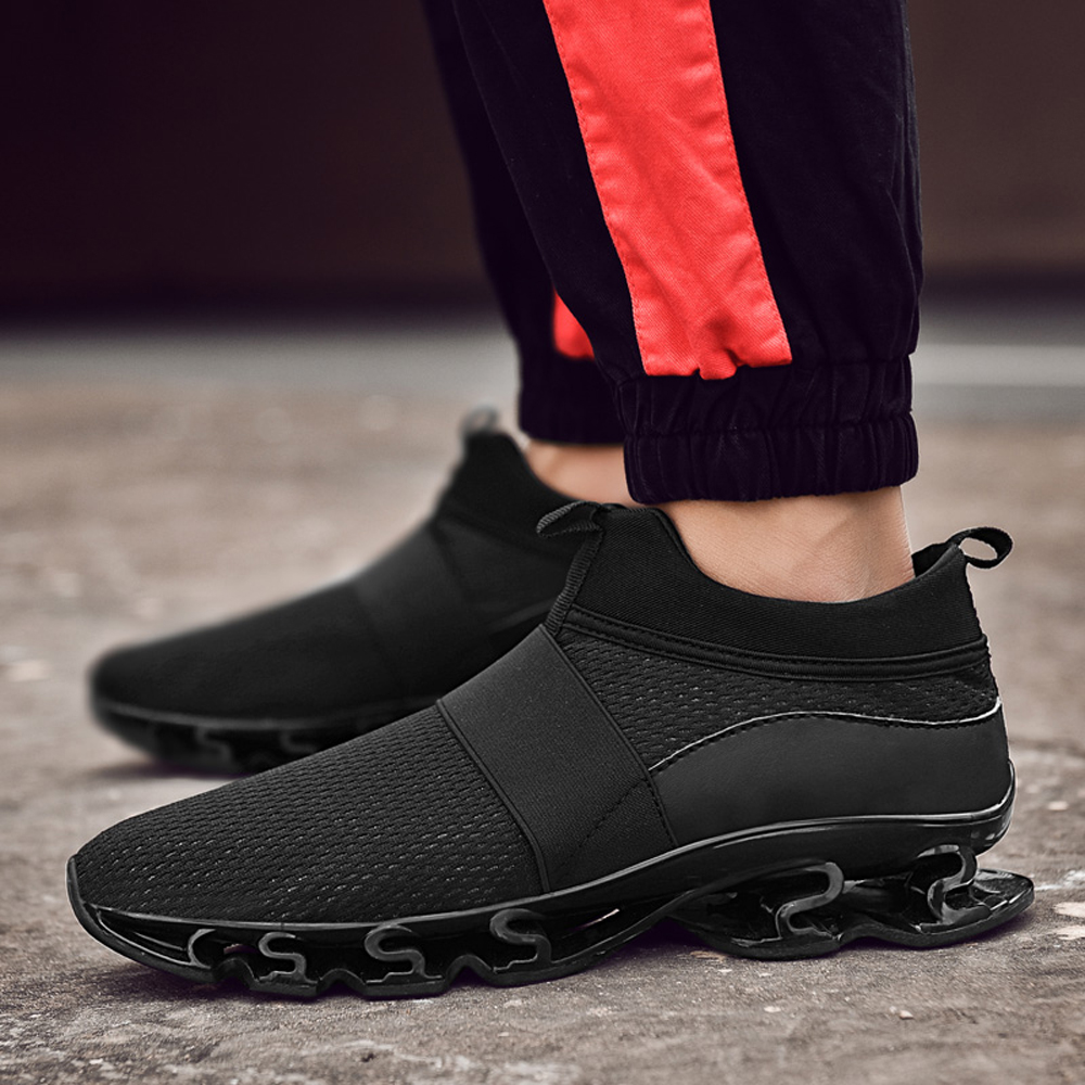 Breathable Running Shoes Men Sneakers Bounce Outdoor Sport Shoes- Black EU 39