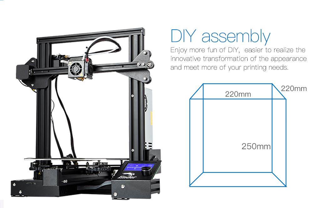Creality3D Ender - 3 pro High Precision 3D Printer DIY Kit Steel Frame LCD Display- Black EU Plug
