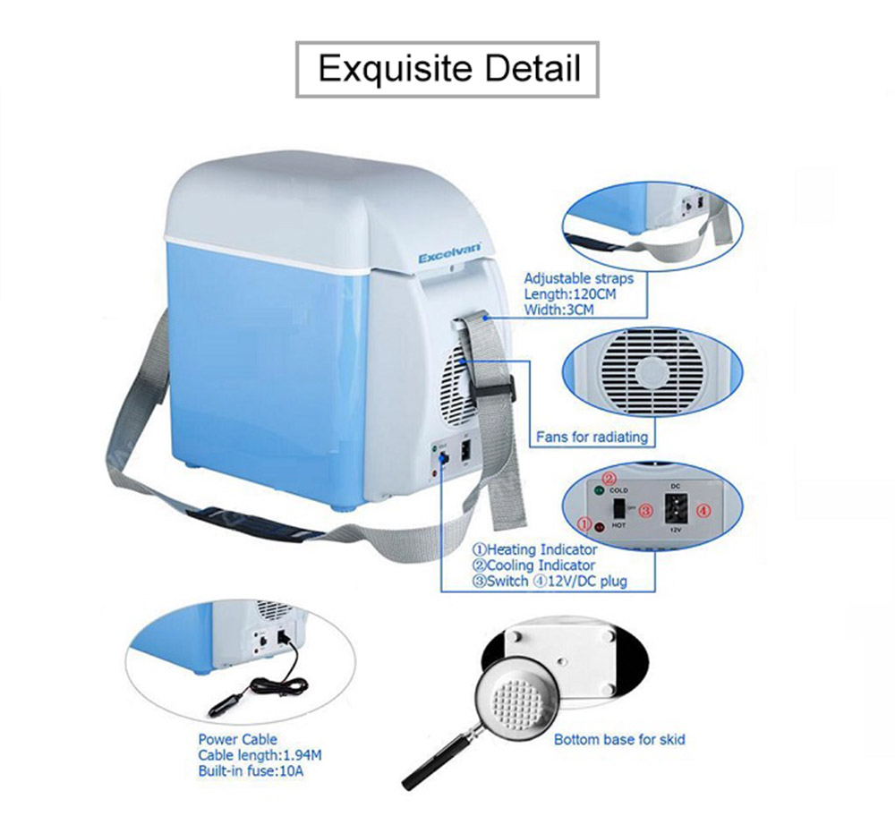 12V Portable Cooling and Heating Function Car Refrigerator- Day Sky Blue No holes at the top