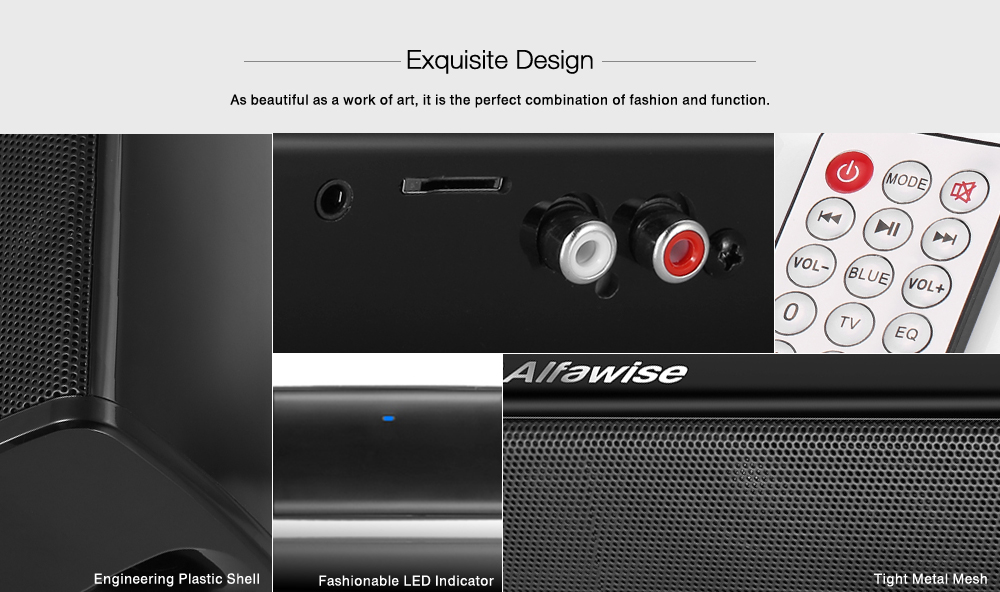 Alfawise BS - 28B Portable Wireless Bluetooth Soundbar - Black