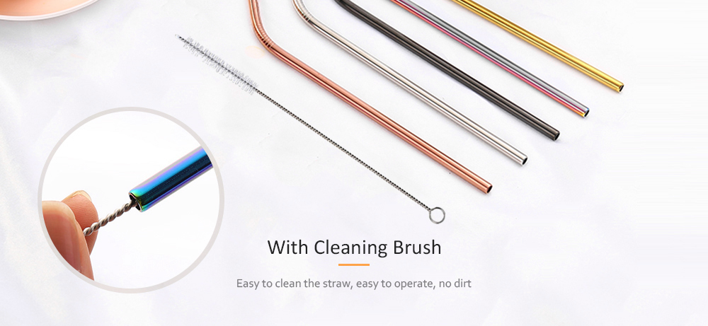 304 Stainless Steel Colorful Portable Curved Straw 4pcs with Brush- Silver