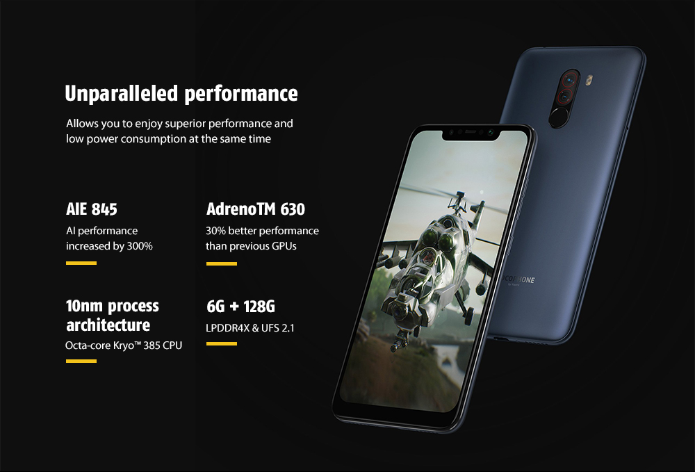Xiaomi Pocophone F1 4G Phablet 6.18 inch Android 8.1 Snapdragon 845 Octa Core 2.8GHz 6GB RAM 128GB ROM 20.0MP Front Camera Fingerprint Sensor- Graphite Black 6+128GB