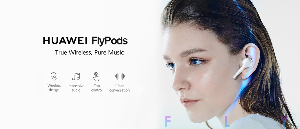 HUAWEI HONOR AM - H1C FlyPods Wireless Earphone Bluetooth Touch Binaural Earbuds with Mic and Charging Dock - White