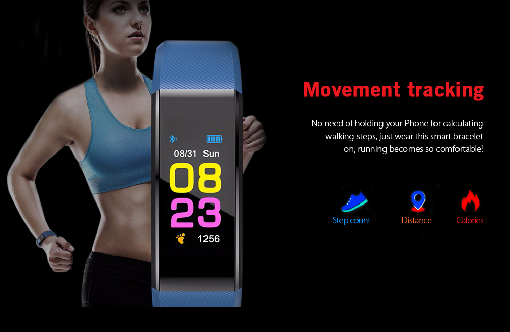 ID115 Plus Smart Bracelet 0.96 inch Screen Bluetooth 4.0 Call / Message Reminder Heart Rate Monitor Functions- Red