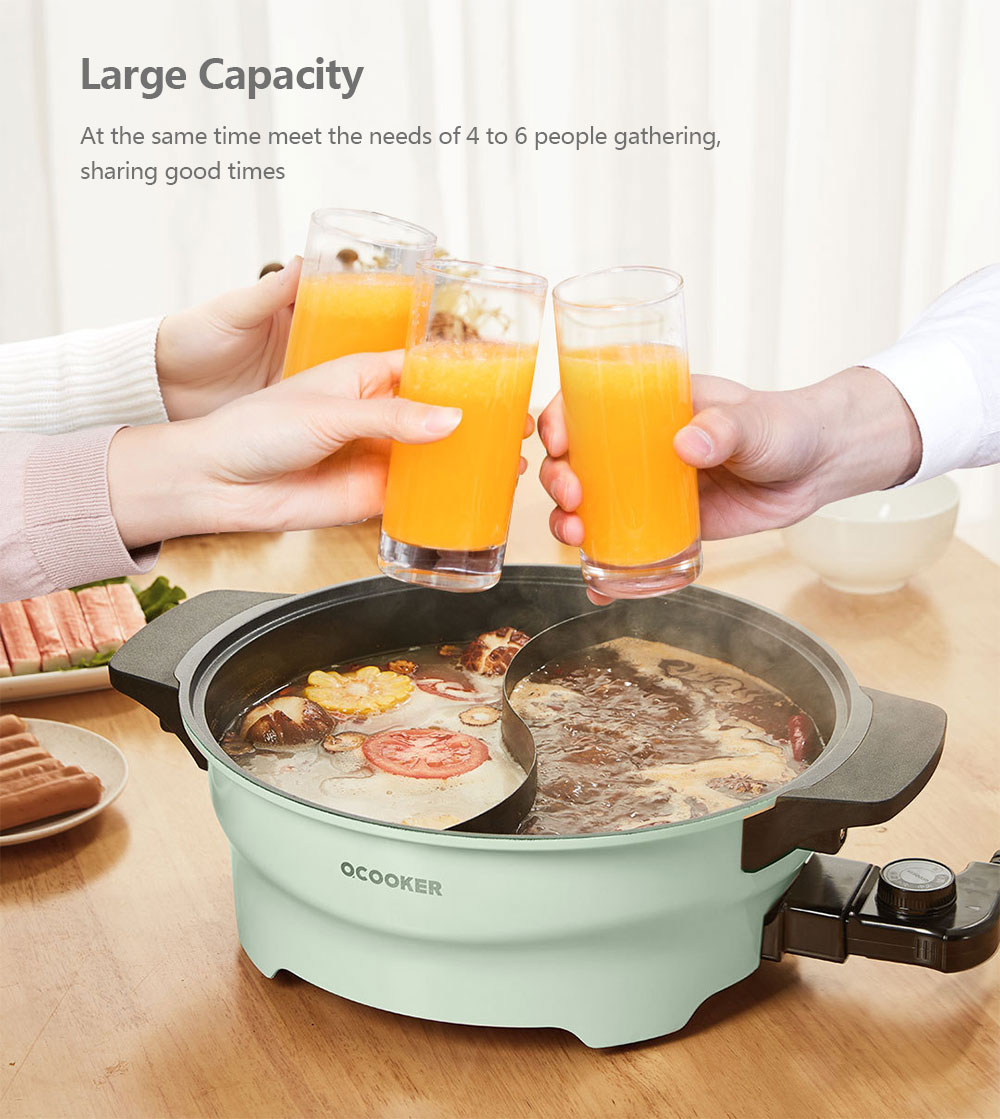 CR - HG03 Multi-function 2 Grid Electric Hot Pot from Xiaomi youpin- Pale Blue Lily Chinese Plug (3-pin)