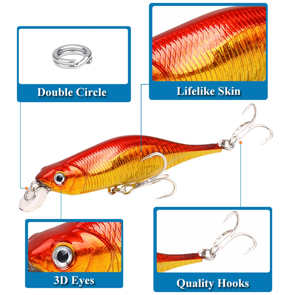 New 11G/11CM Slow Sinking Road Bait for Freshwater Mino Fishing with Steel Wire- Warm White