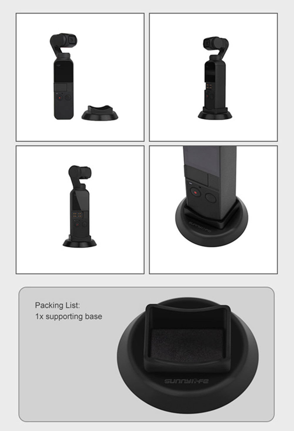Handheld Gimbal Camera Supporting Base Desktop Stand for DJI OSMO Pocket- Black