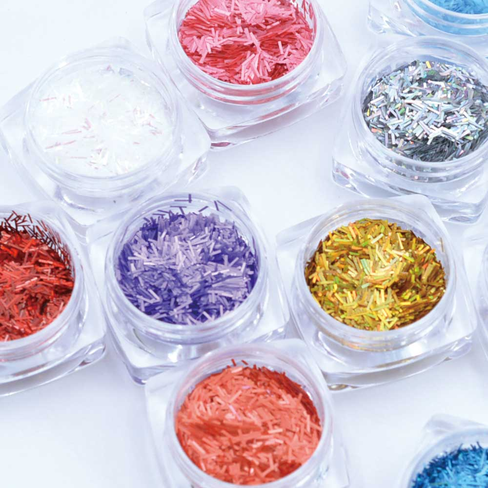 1 Box 12 Color Glitter 3D Ultrathin Sequins With 4 Design Star Line Nail Decors- Multi-C