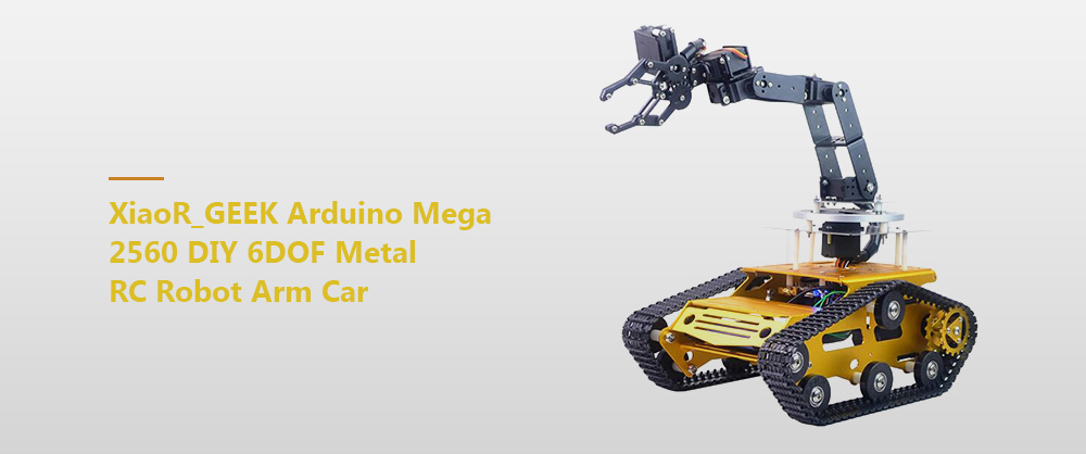 XiaoR_GEEK Arduino Mega 2560 DIY 6DOF Metal RC Robot Arm Car - Gold