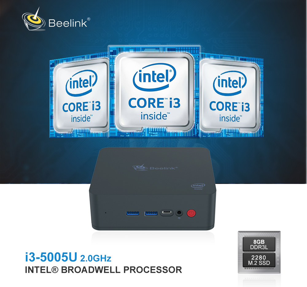 Beelink U55 Intel Core I3 - Mini PC 5005U- Nero 8 GB di RAM + 256 GB SSD