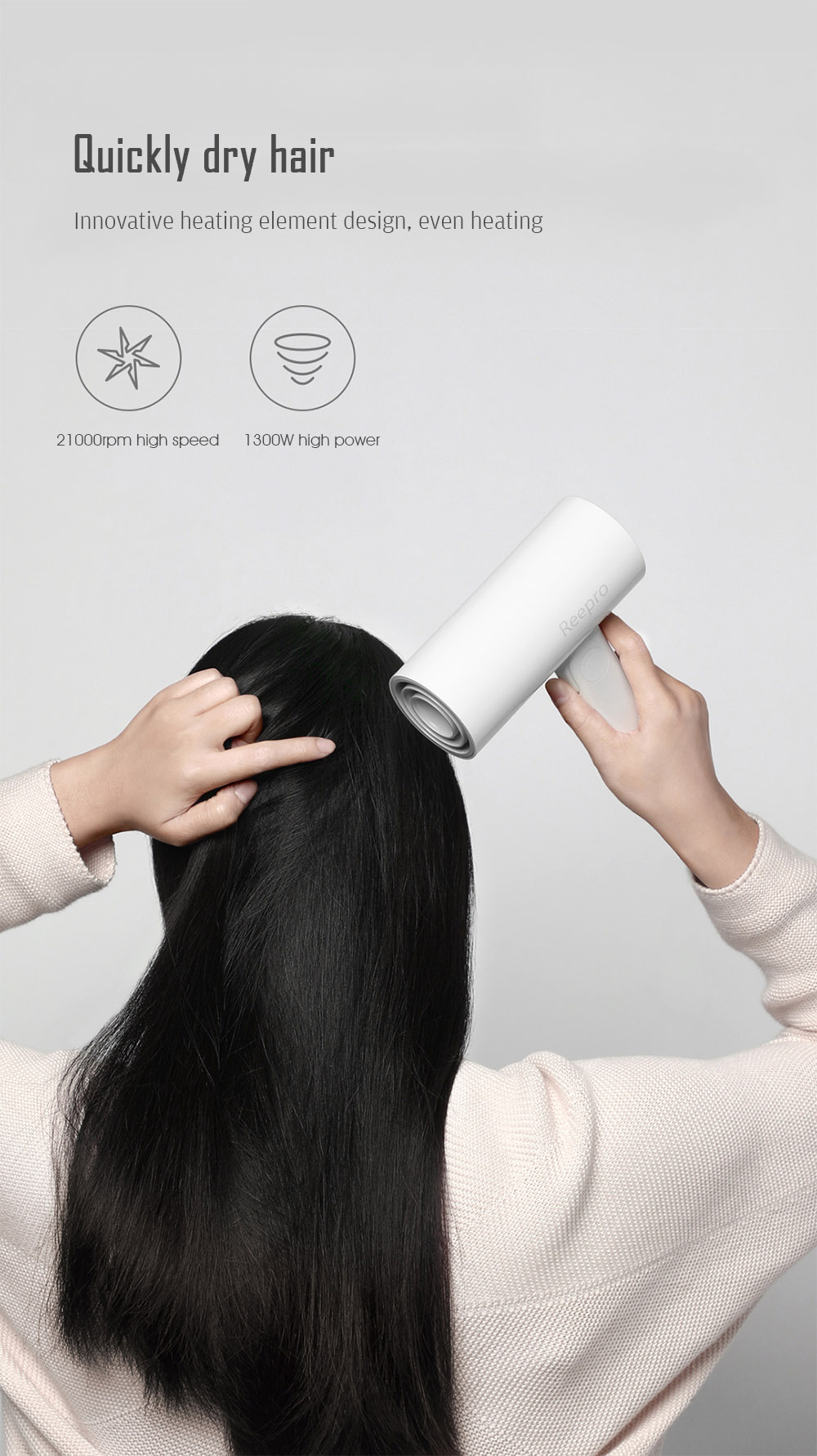 Reepro RP - HC04 Mini Power Generation Hair Dryer- White