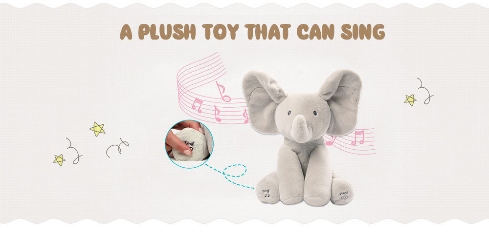 Peekaboo Elephant Electric Peluche Music Comfort Toy- Grigio