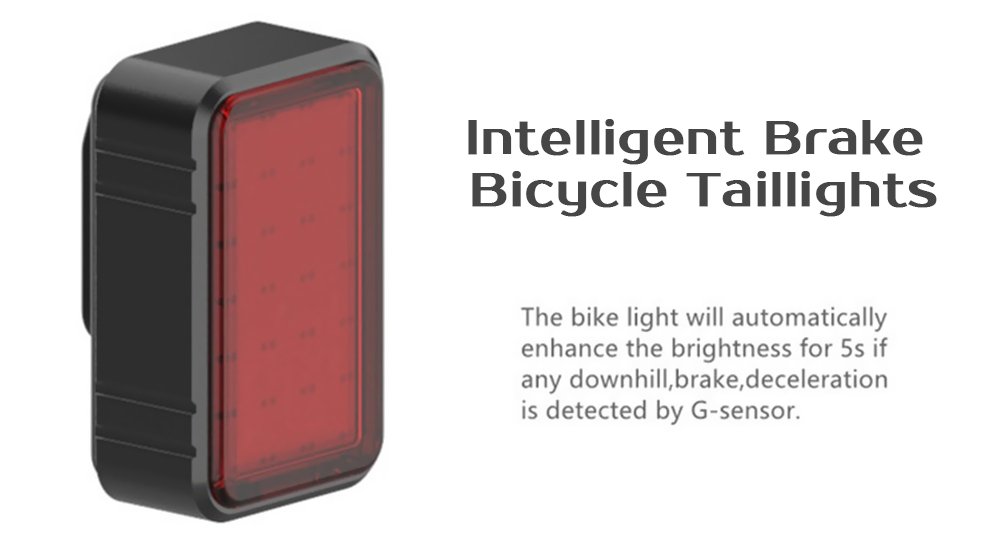 USB Charging Intelligent Induction Brake Bicycle Riding Taillights - Black