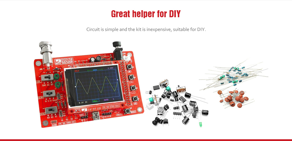 DSO138 DIY Digital Oscilloscope Electronic Learning Kit