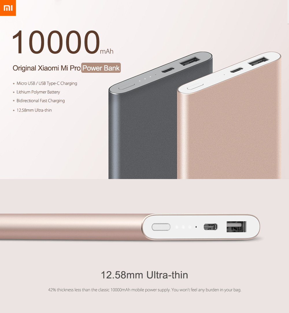 Original Xiaomi Mi Pro 10000mAh Type-C USB Mobile Power Bank Two-way Quick Charge Charger- Gray