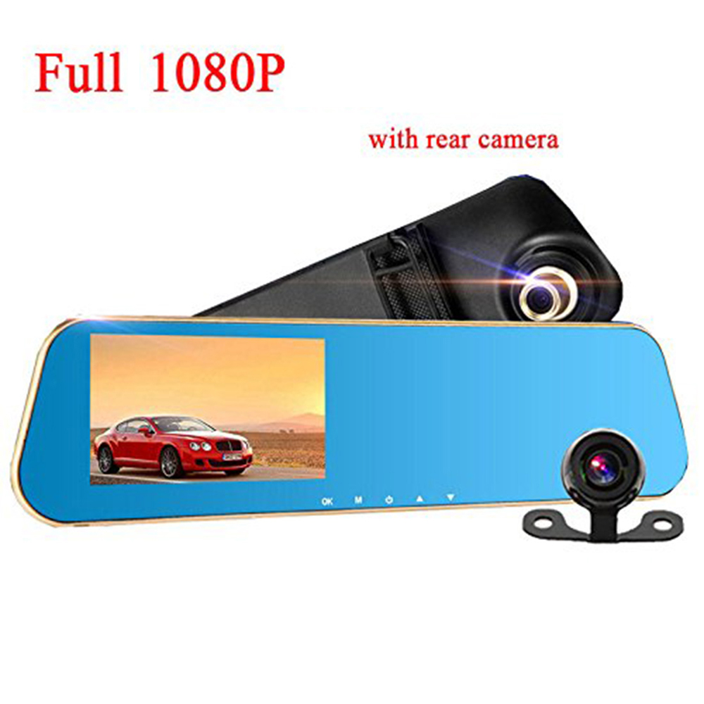 4.3 Inch 1080P Car DVR Rearview Mirror 140 Degree Dual Lens Camera Night Vision- Crystal Blue