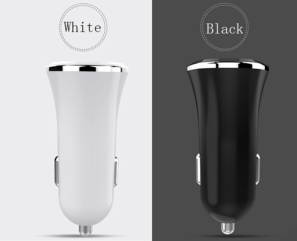 Double USB Mobile Car Horn Car Charger 2 A Charger- White