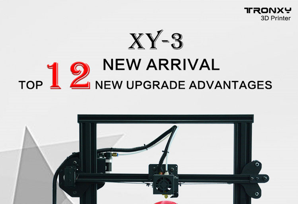 TRONXY XY - 3 3D Printer Fast Installation 310 x 310 x 330mm Print Size Multi Function Touch Screen- Black EU Plug