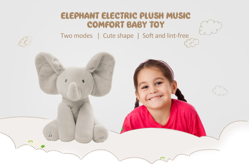 Elephant Electric Plush Music Comfort Baby Toy- Gray