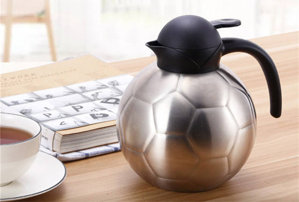 1.25 liter double-layer 304 stainless steel home football type insulation pot- Silver