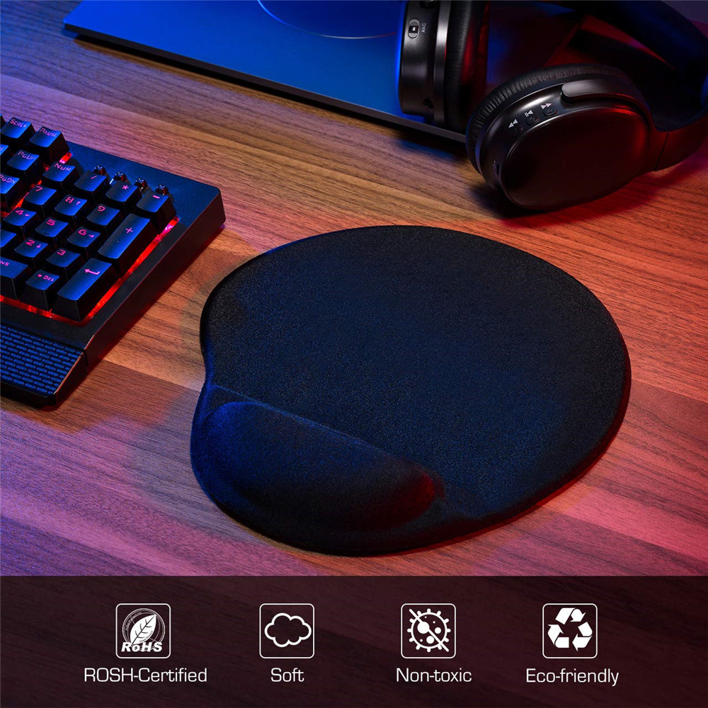 Mouse Pad with Gel Wrist Rest PU Base Wrist Rest Pad for Typist Office- Black