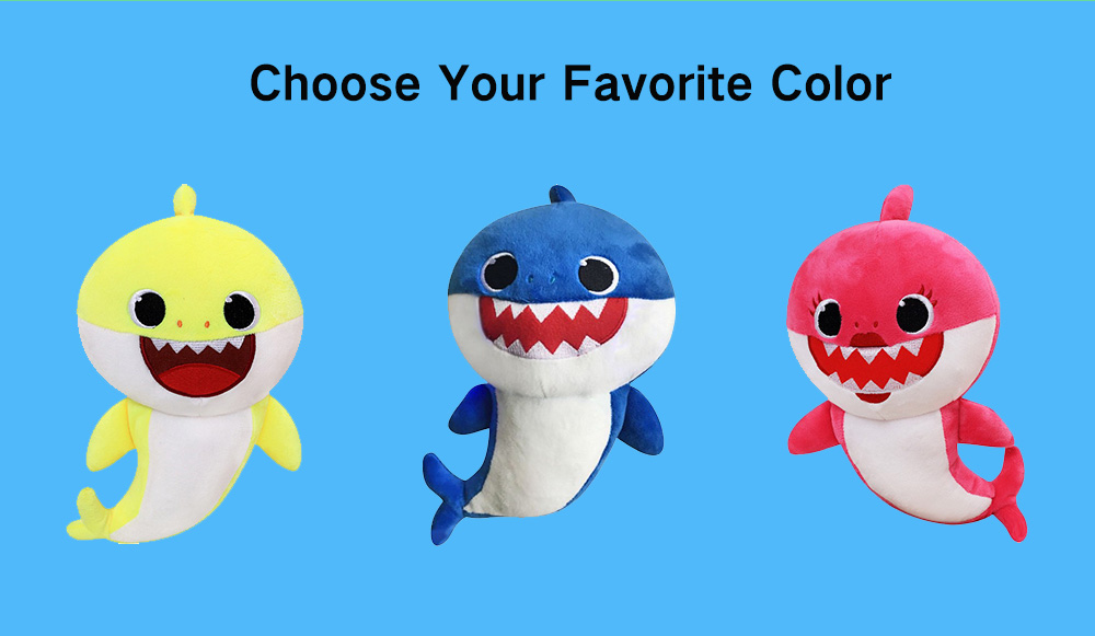 Shiny Plush Toy Singing Shark Doll for Kids- Medium Violet Red