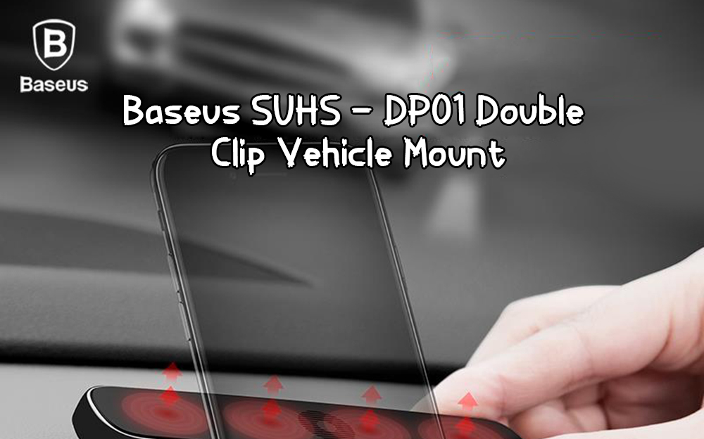 Baseus SUHS - DP01 Car Double Clip Phone Holder- Silver