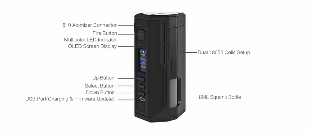 Lost Vape Drone BF DNA250C 200W Squonk Mod- Brown Sugar