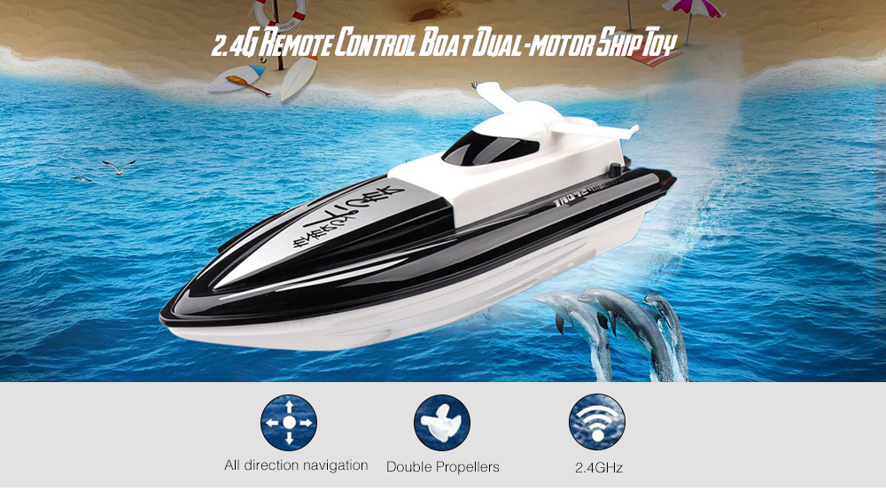 2.4G Remote Control Boat 4CH Dual-motor High-speed Ship Toy- Deep Sky Blue