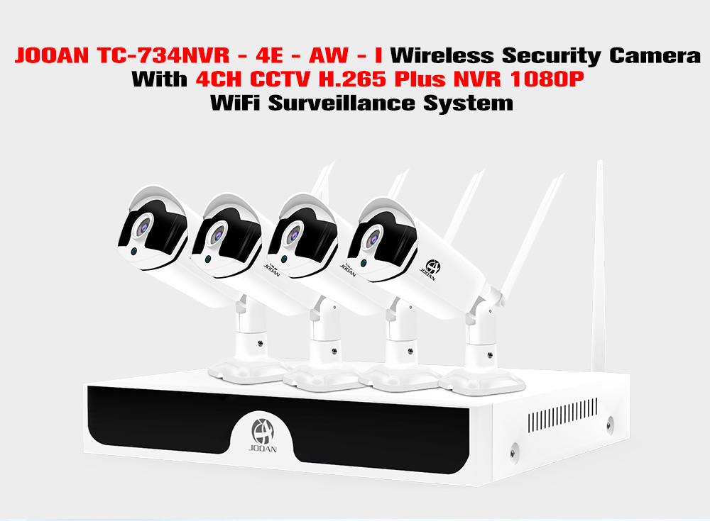 JOOAN TC - 734NVR - 4E - AW - I Wireless Security Camera with 4CH CCTV  H 265 Plus NVR 1080P WiFi Surveillance System