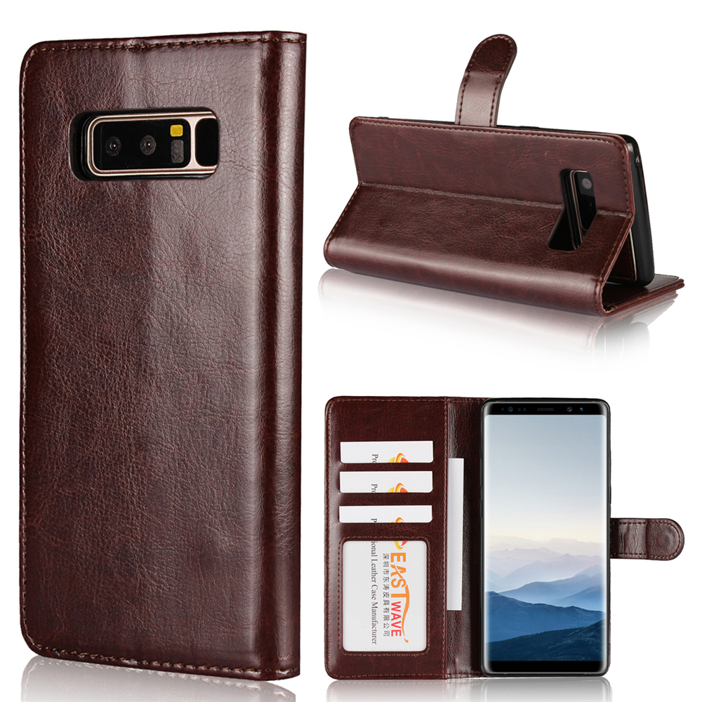 ForSamsuny Note 8 Mad Horseprint Two-In-One Flanged Protective Cover- Deep Brown