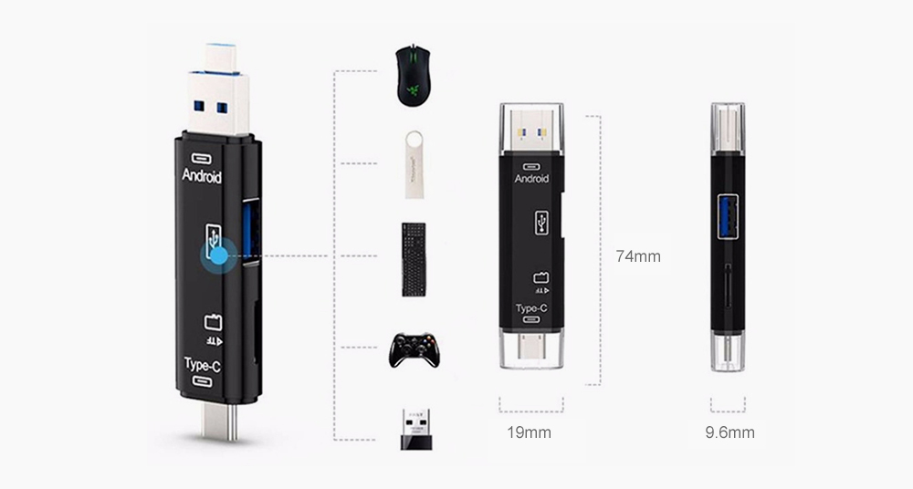 Micro USB OTG TF Memory Card Color : Black HHF USB Cables Universal Foldable Type-C SD Card Reader for Mobile Phone Tablet