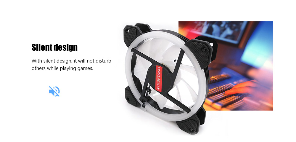 RGB 12cm Colorful Aurora Eclipse Silent Desktop Computer Cooling Fan