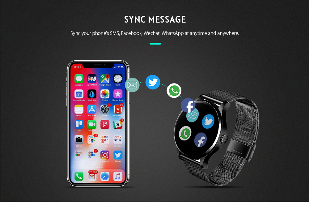 K88H MTK2502 Bluetooth Smart Watch Heart Rate Track Wristwatch- Black Leather Band