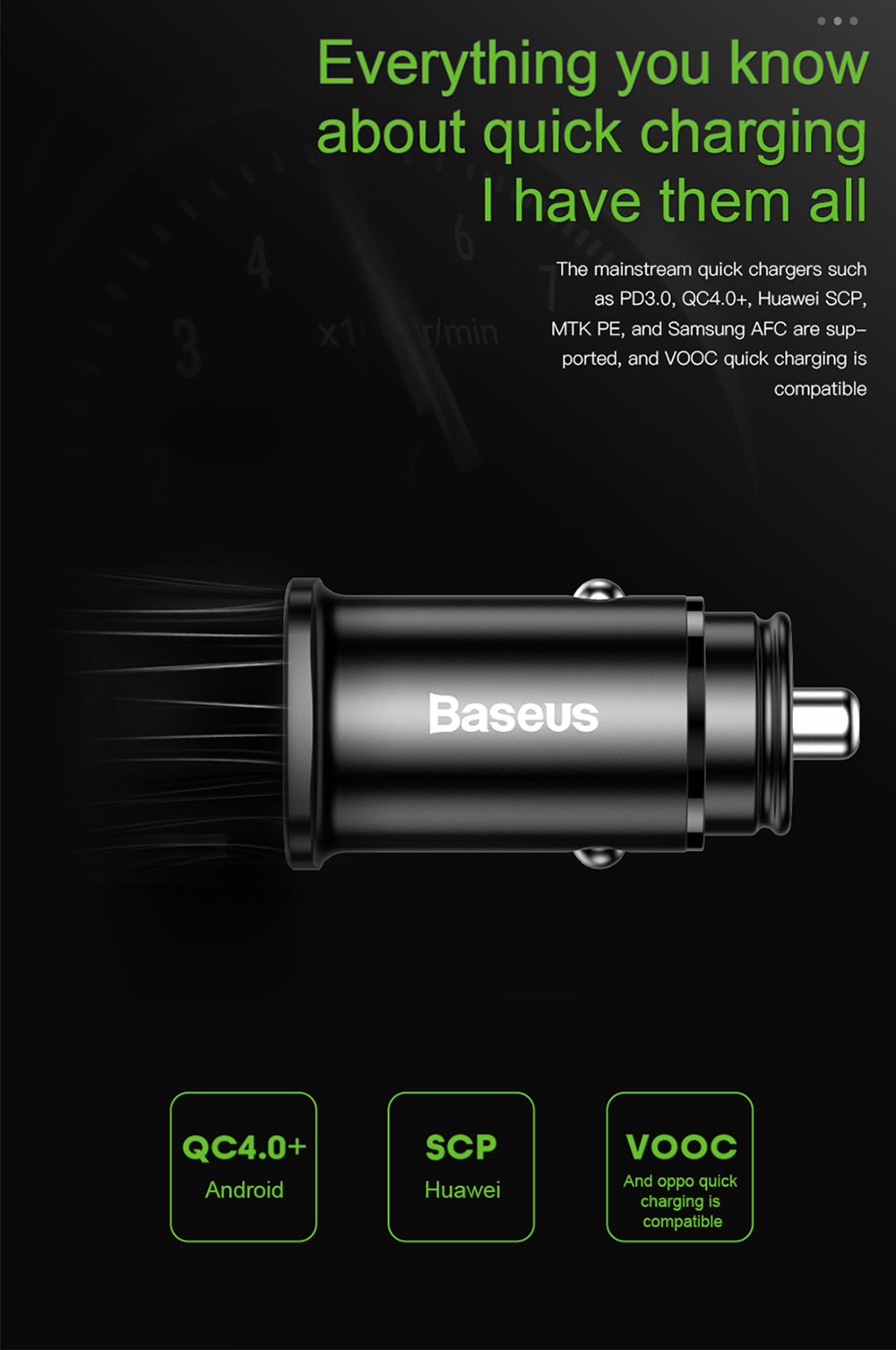 Baseus CCALL - AS01 / CCALL - AS0S 30W USB Quick Charge QC 4.0 Car Charger - Silver USB+type C