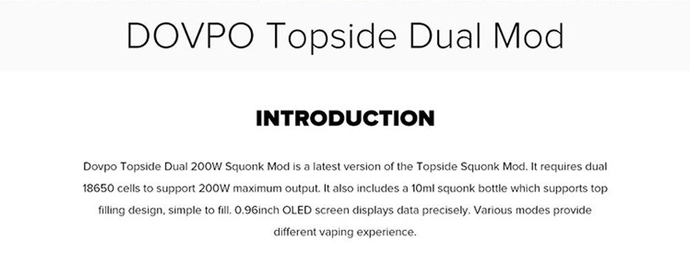 Dovpo Topside Dual Top Fill 200W Squonk Mod Introduction