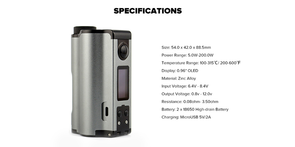 Dovpo Topside Dual Top Fill 200W Squonk Mod Specifications