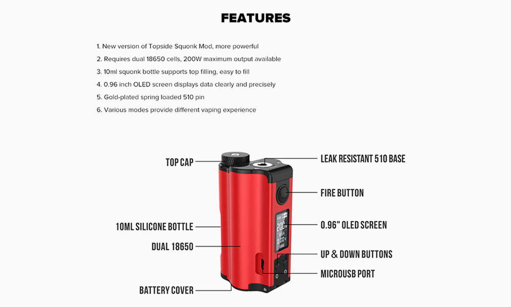 Dovpo Topside Dual Top 200W Fill Squonk Mod Features & OverView