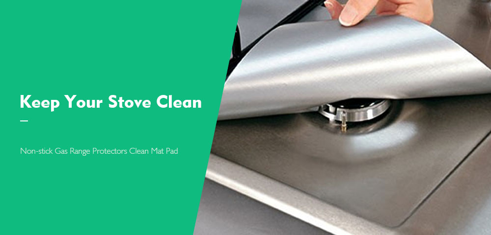 Non-stick Gas Range Protectors Reusable Foil Stove Burner Protective Cover Liner Clean Mat Pad- Silver