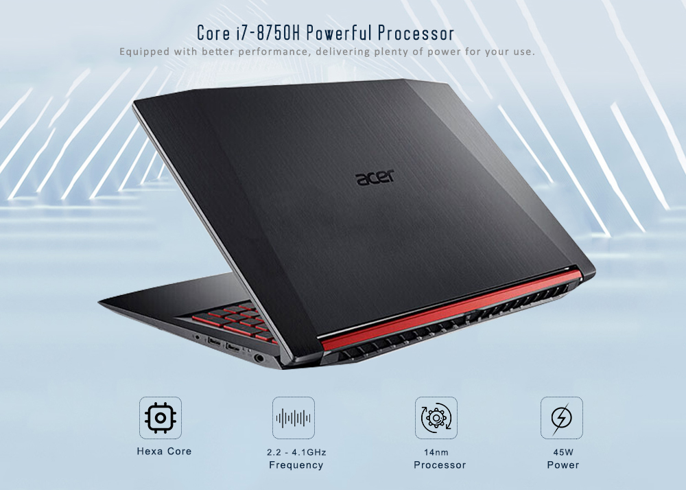 Acer AN515 - 52 - 73QL Gaming Laptop 15.6 inch Windows 10 Chinese Home Version Intel i7-8750H 6 Core 2.2 - 4.1GHz 8GB DDR4 128GB SSD 1TB HDD Dual Band WiFi BT5.0- Black