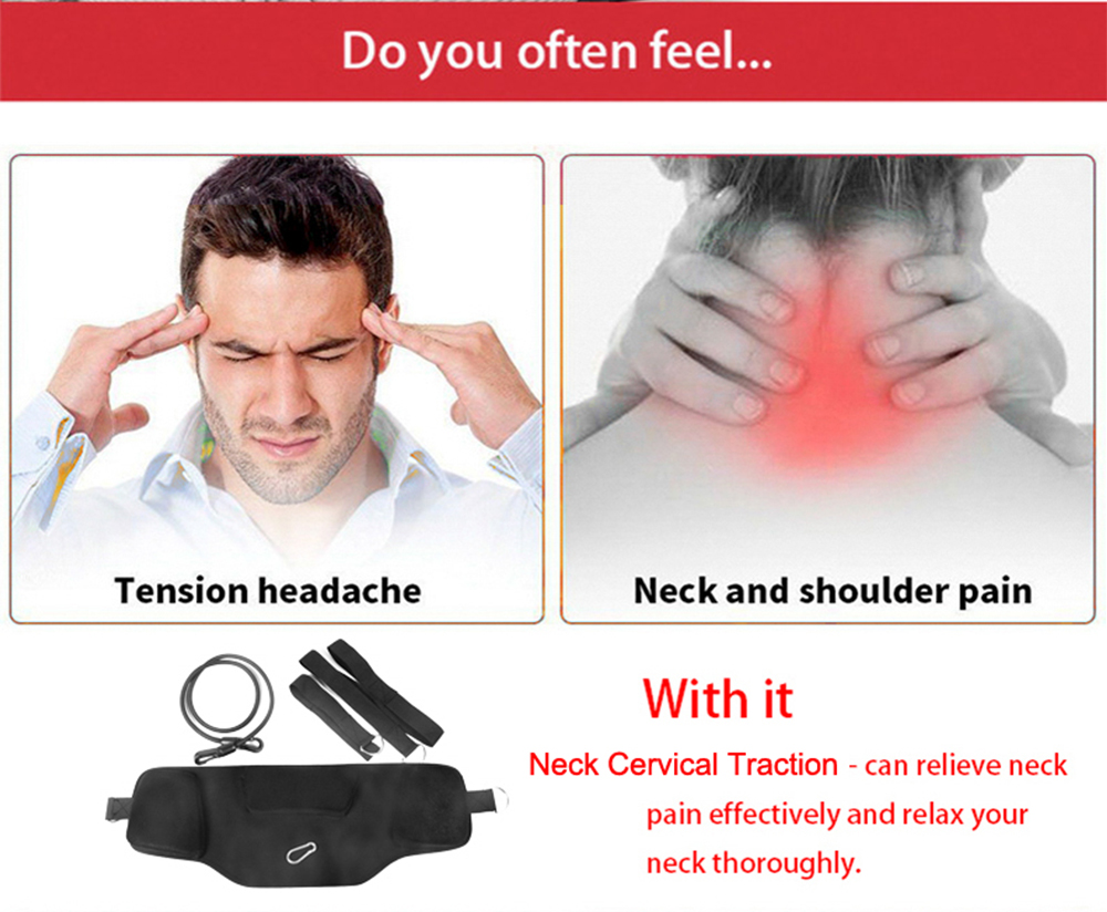 Portable Neck Nerves Headaches Relief Massager for Home Office Travel- Black