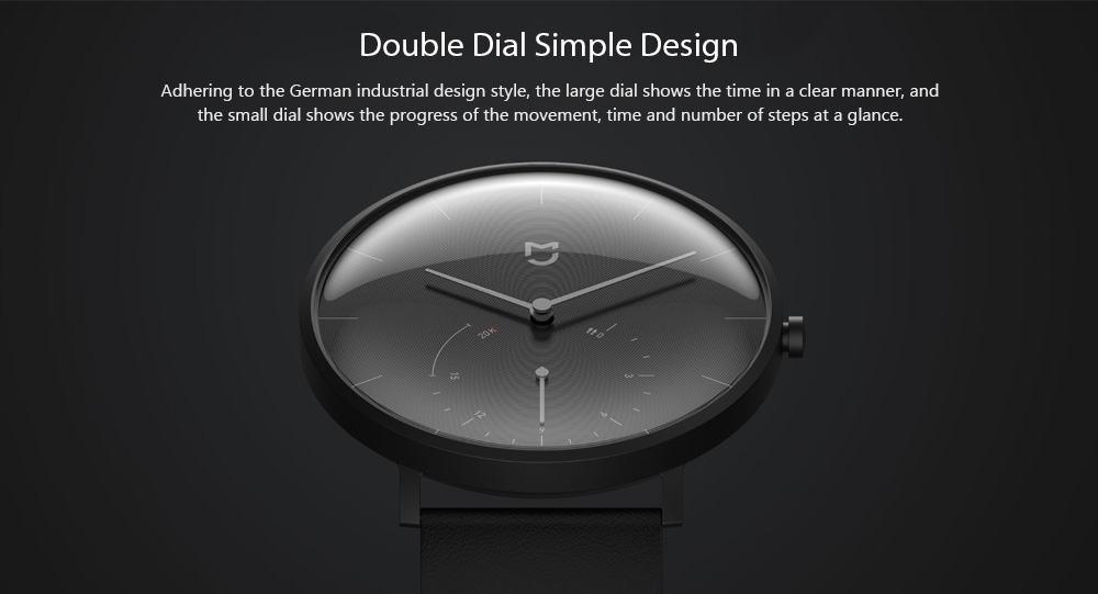 Mijia Double Dial Automatic Calibration Free Charging Quartz Watch from Xiaomi youpin - Gray