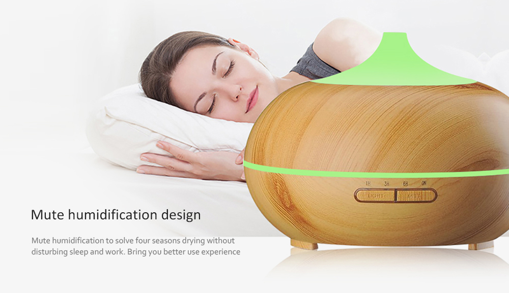 1821 Aroma Diffuser 300ML Essential Oil Electric Ultrasonic Humidifier- Light Brown