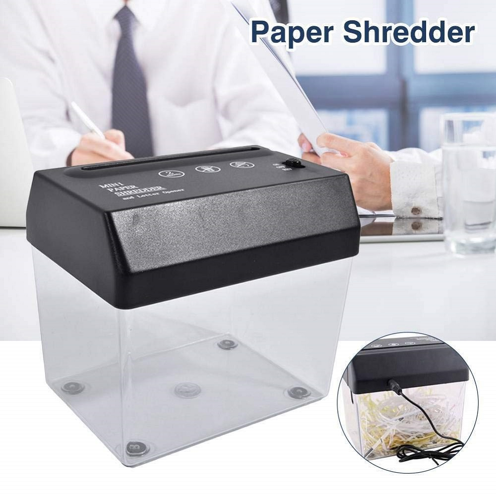 Mini USB Paper Shredder Letter Opener Electric A6/ A4 Folded Strip-cut Machine- Black